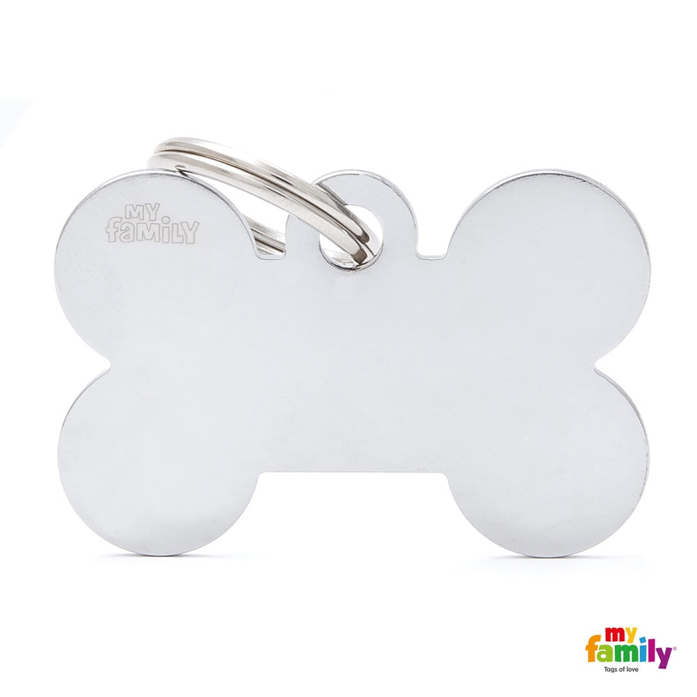 My Family ID TAG BASIC COLLECTION BONE IN CHROME PLATED BRASS