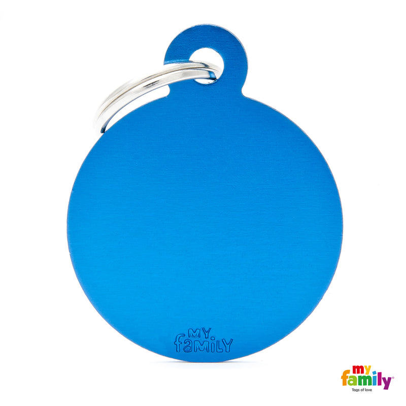 My Family ID TAG BASIC COLLECTION BIG ROUND BLUE IN ALUMINUM