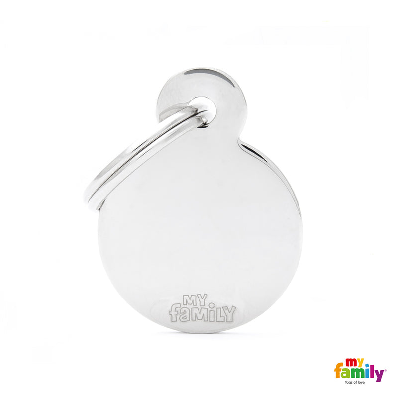 My Family ID TAG BASIC COLLECTION ROUND IN CHROME PLATED BRASS
