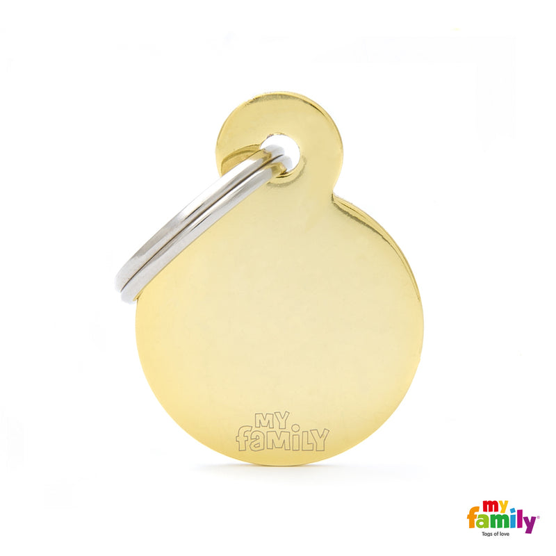 My Family ID TAG BASIC COLLECTION ROUND IN GOLDEN PLATED BRASS