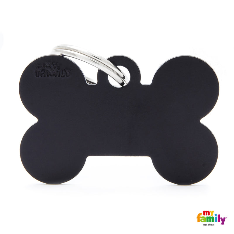 My Family ID TAG BASIC COLLECTION BONE BLACK IN ALUMINUM