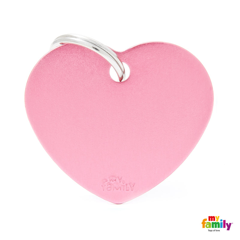 My Family ID TAG BASIC COLLECTION BIG HEART PINK IN ALUMINUM