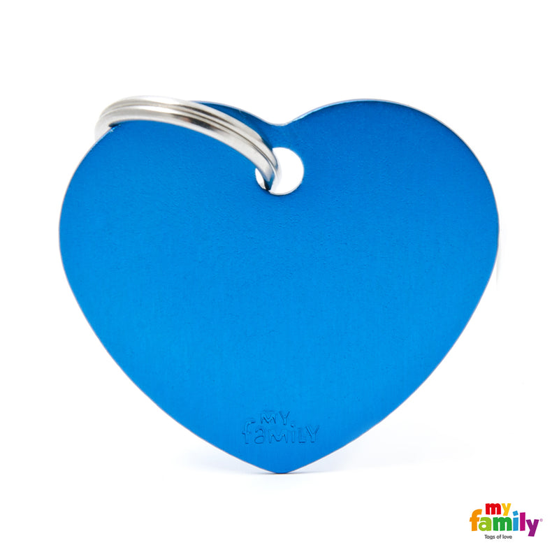 My Family ID TAG BASIC COLLECTION BIG HEART BLUE IN ALUMINUM