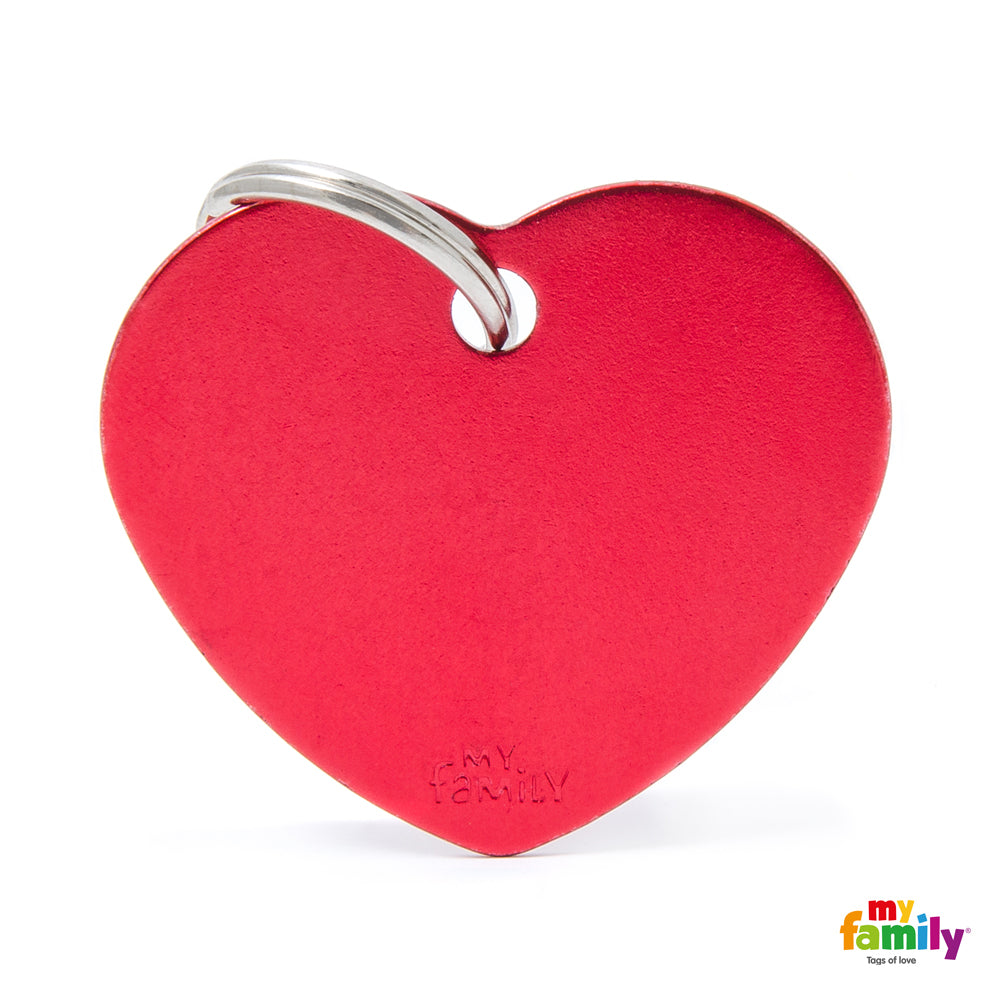 My Family ID TAG BASIC COLLECTION BIG HEART RED IN ALUMINUM