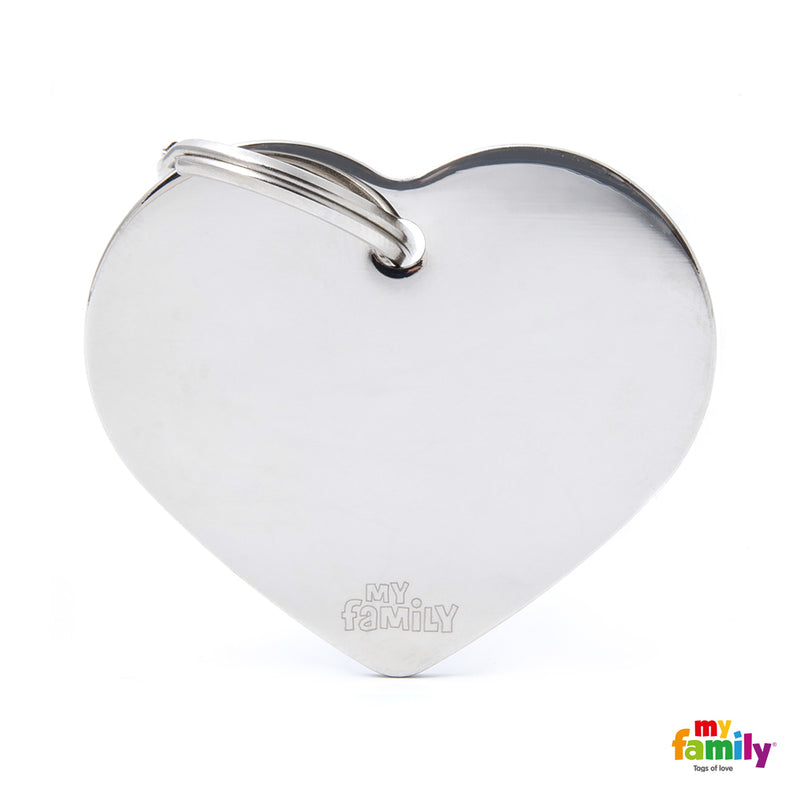 My Family ID TAG BASIC COLLECTION BIG HEART IN CHROME PLATED BRASS