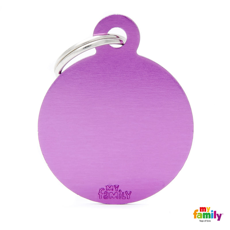 My Family ID TAG BASIC COLLECTION BIG ROUND PURPLE IN ALUMINUM