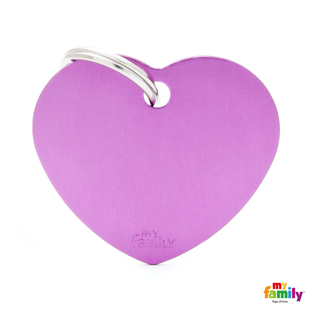 My Family ID TAG BASIC COLLECTION BIG HEART PURPLE IN ALUMINUM