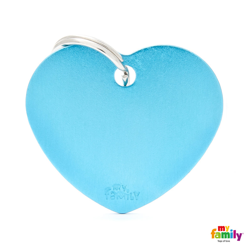 My Family ID TAG BASIC COLLECTION BIG HEART LIGHT BLUE IN ALUMINUM
