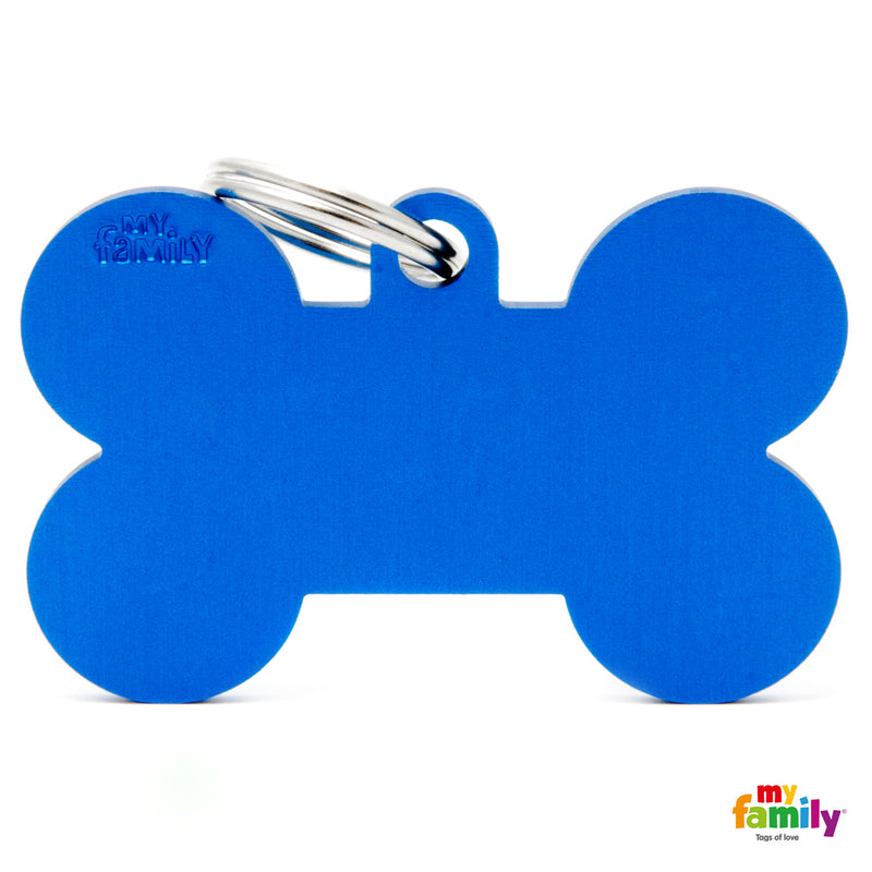 My Family ID TAG BASIC COLLECTION BONE BLUE IN ALUMINIUM