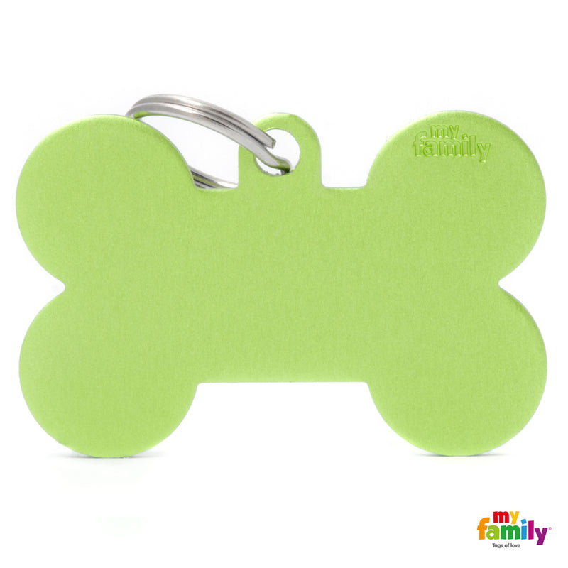 My Family ID TAG BASIC COLLECTION BONE GREEN IN ALUMINUM