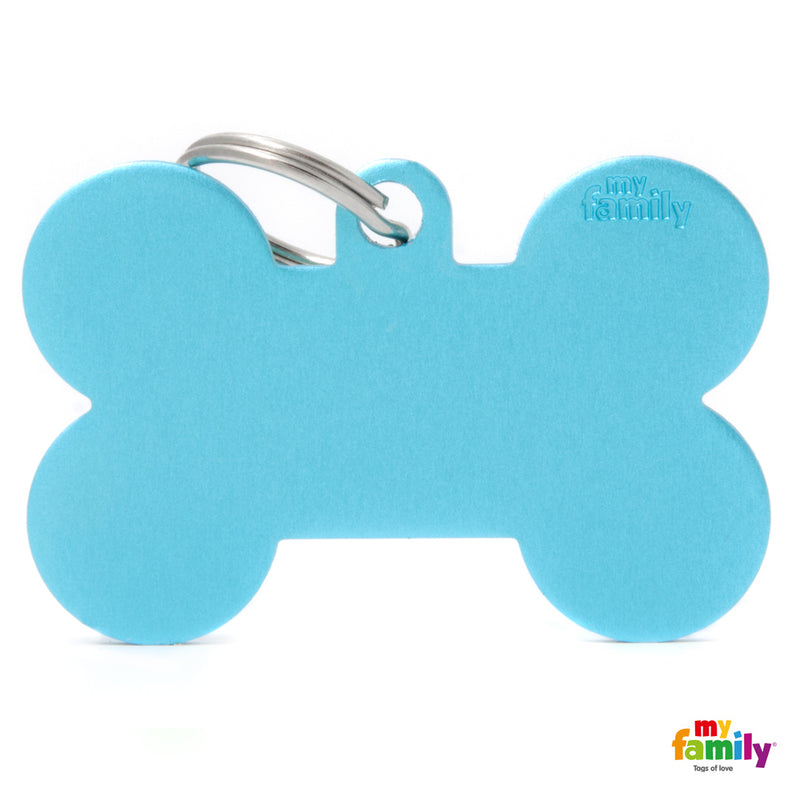 My Family ID TAG BASIC COLLECTION BONE LIGHT BLUE IN ALUMINUM