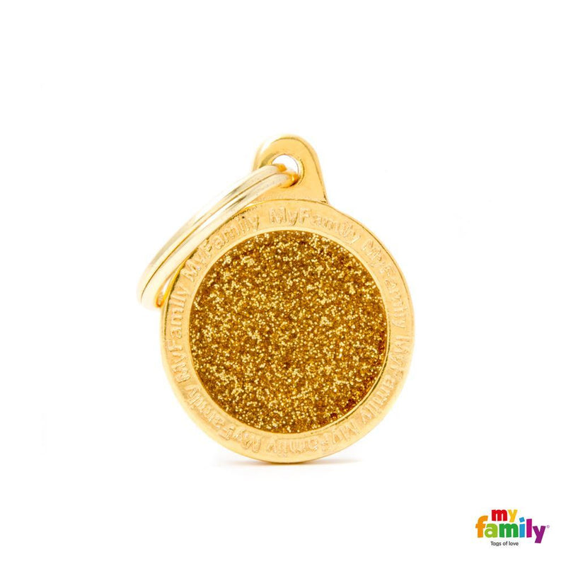 "My Family SHINE ""SMALL CIRCLE GOLD GLITTER"" ID TAG"