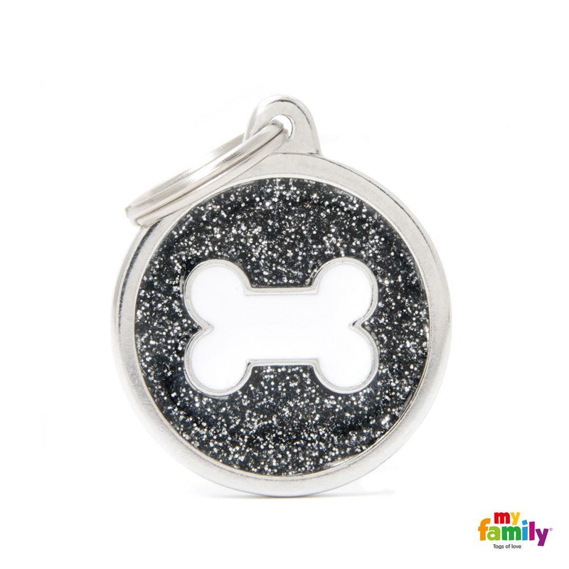 "My Family SHINE ""BIG CIRCLE BLACK GLITTER WHITE BONE"" ID TAG"