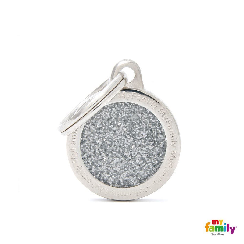 "My Family SHINE ""SMALL CIRCLE GREY GLITTER"" ID TAG"
