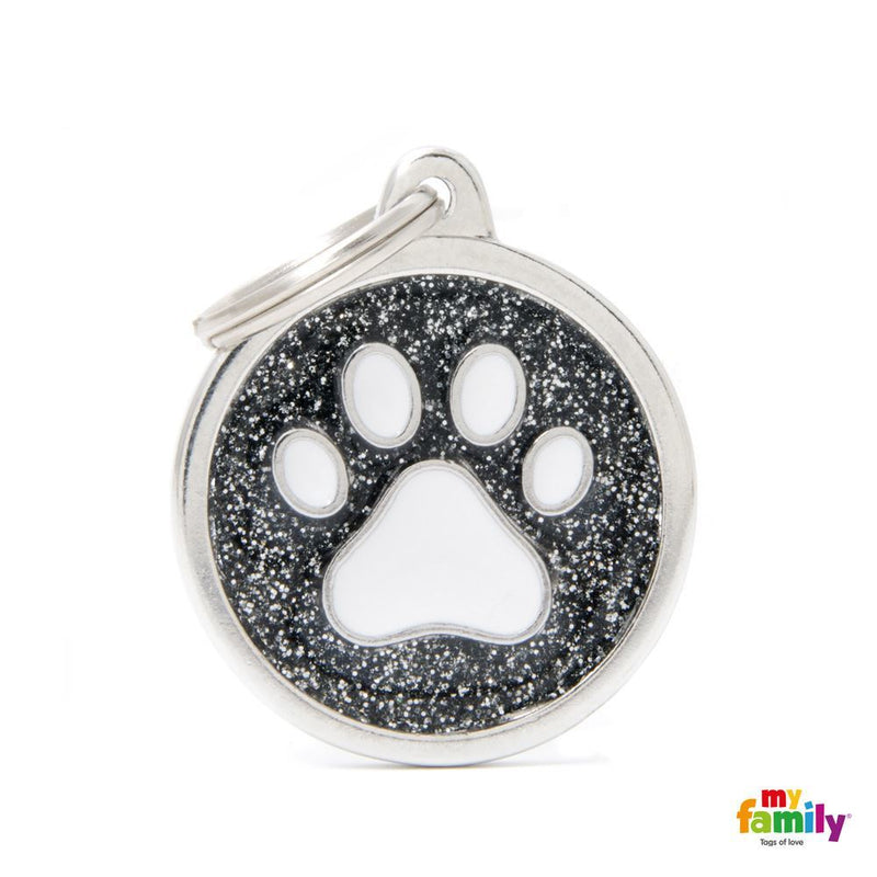 "My Family SHINE ""BIG CIRCLE BLACK GLITTER WHITE PAW"" ID TAG"