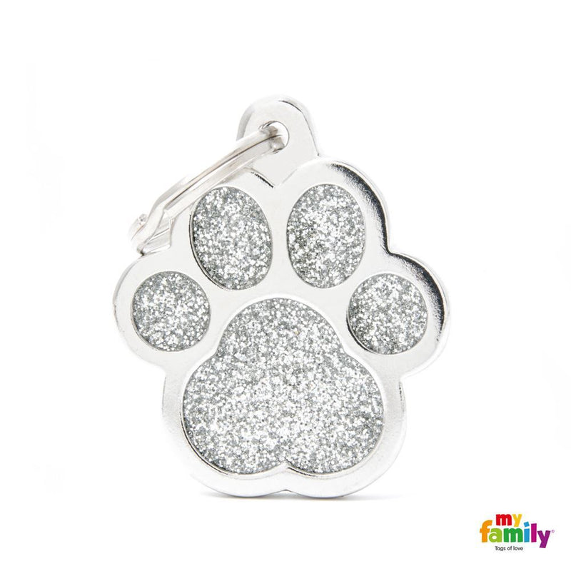 "My Family SHINE ""BIG PAW GREY GLITTER"" ID TAG"