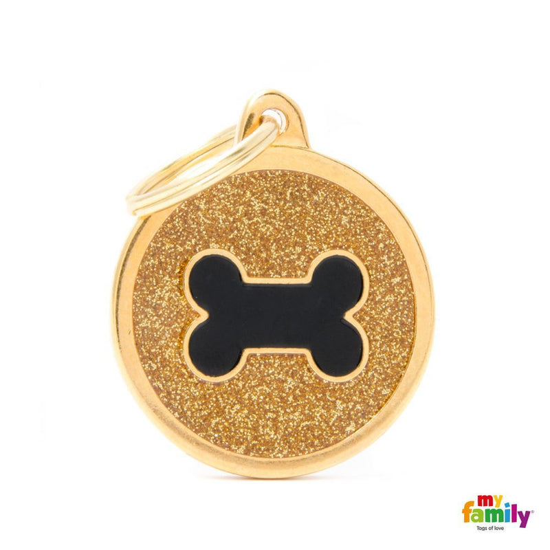 "My Family SHINE ""BIG CIRCLE GOLD GLITTER BLACK BONE"" ID TAG"