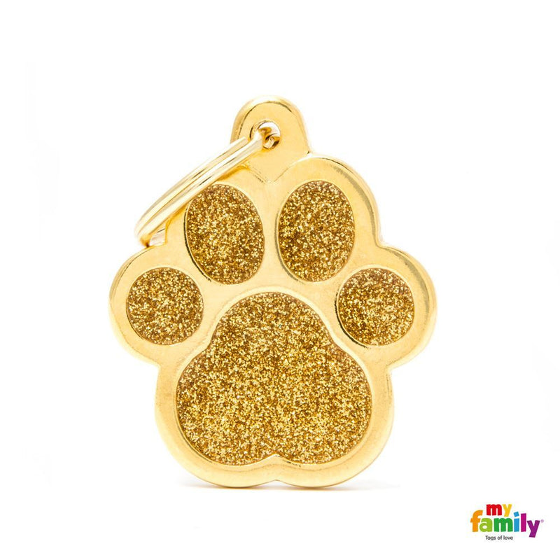 "My Family SHINE ""BIG PAW GOLD GLITTER"" ID TAG"