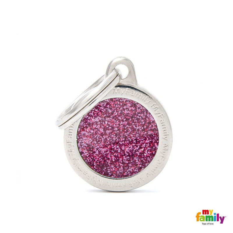 "My Family SHINE ""SMALL CIRCLE PINK GLITTER"" ID TAG"