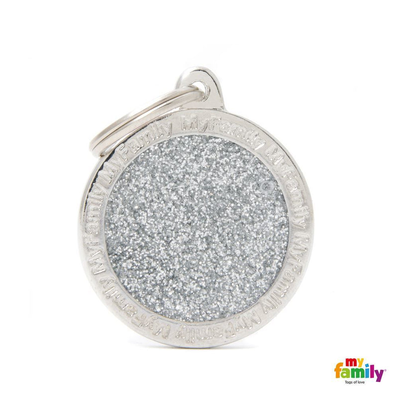 "My Family SHINE ""BIG CIRCLE GRAY GLITTER"" ID TAG"