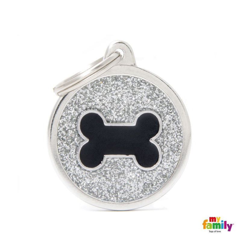 "My Family SHINE ""BIG CIRCLE GREY GLITTER BLACK BONE"" ID TAG"