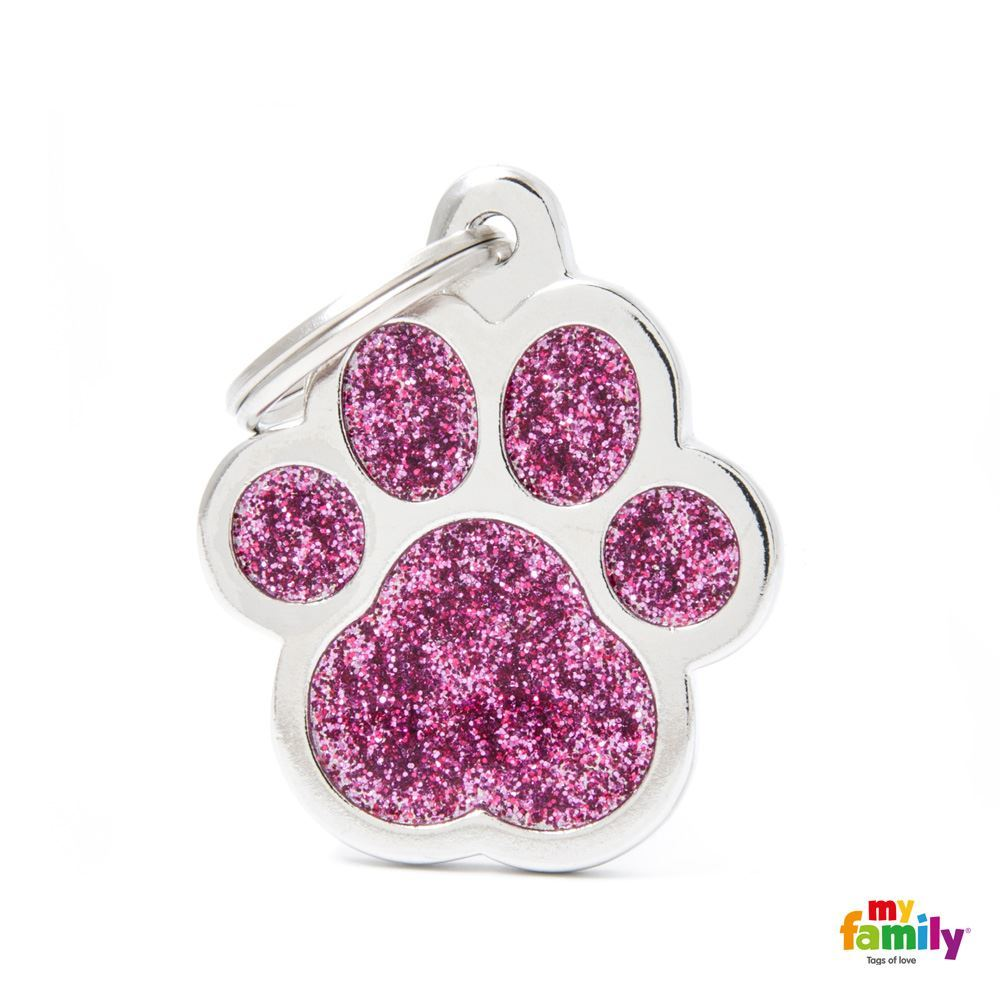 "My Family SHINE ""BIG PAW PINK GLITTER"" ID TAG"