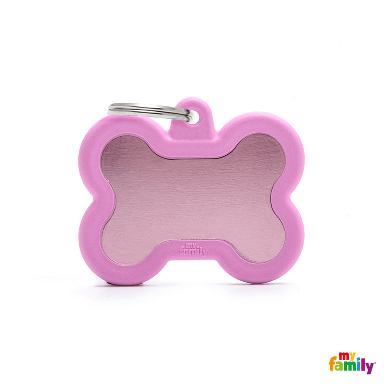 MYFAMILY ID TAG - HUSHTAG COLLECTION - ALUMINIUM PINK BONE WITH PINK RUBBER