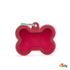 MYFAMILY ID TAG - HUSHTAG COLLECTION - ALUMINUM RED BONE WITH RED RUBBER