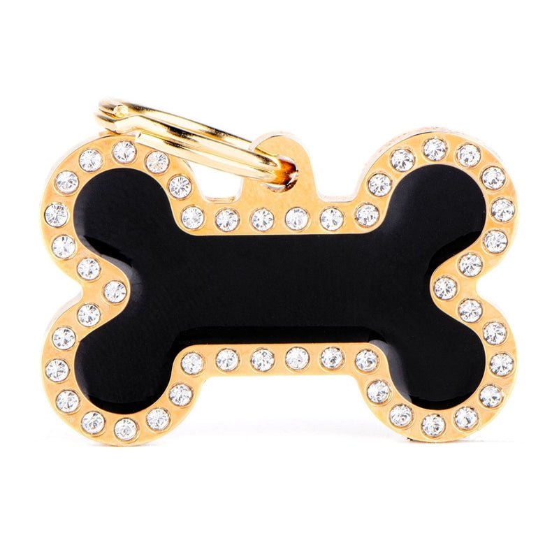 "My Family GLAM GOLD ""BLACK BONE STRASS"" ID TAG"