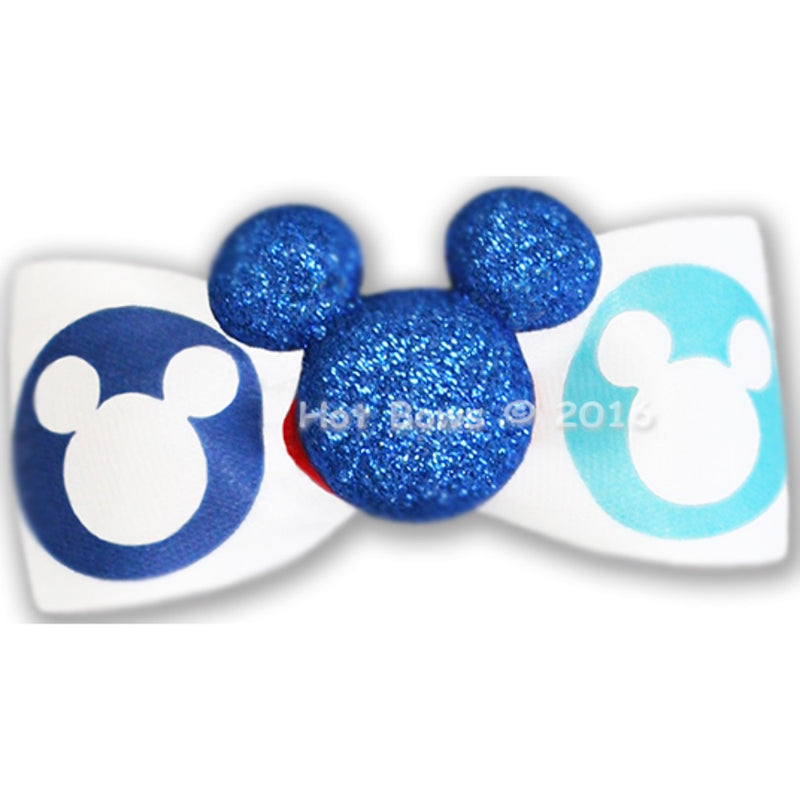 Hot Bows Glitter Mickey, Blue Bow