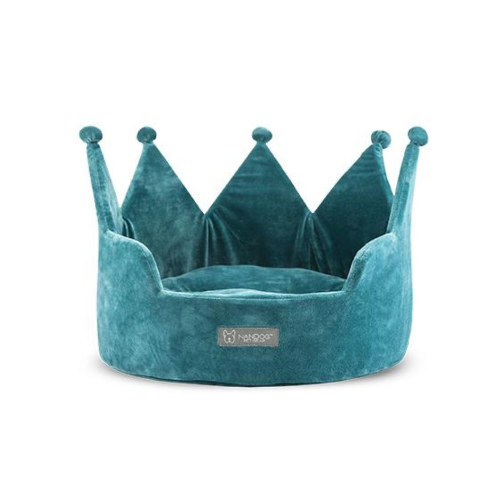 Nandog Crown Bed Micro Plush- Teal