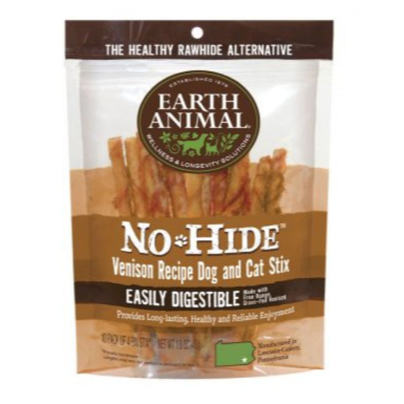 Earth Animal No Hide Venison Chews Dog And Cat Treats 10 Pack