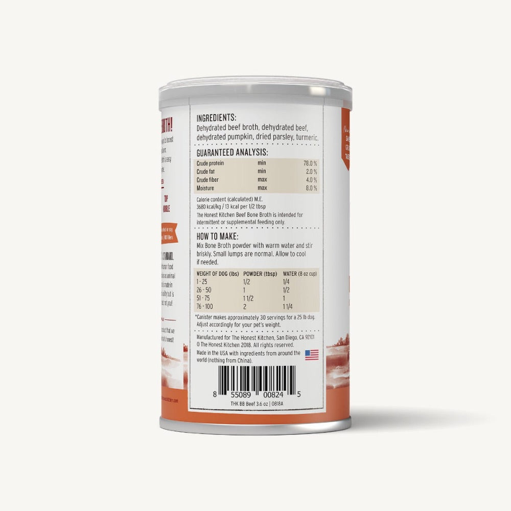 The Honest Kitchen INSTANT BONE BROTH - BEEF & TURMERIC (3.6oz)
