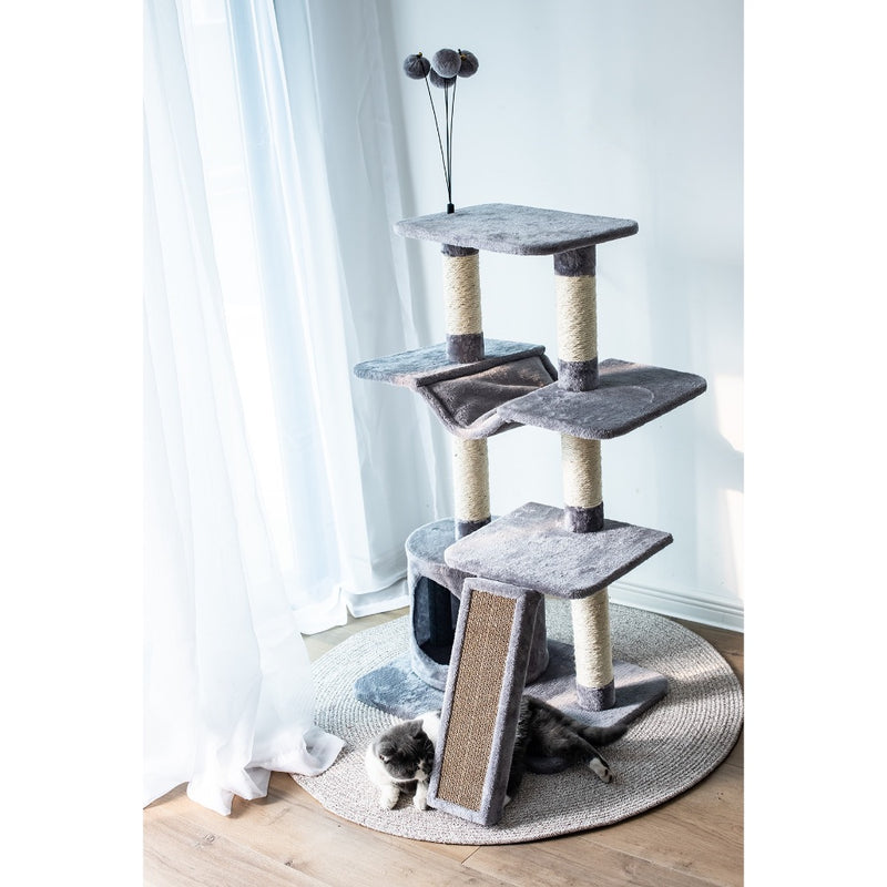 Petpals Catry Four-Level Cat Tree Condo Gray UNASSEMBLED