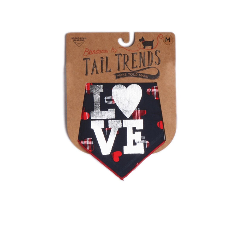 Tail Trends LOVE- SILVER SCREEN PRINT Bandana