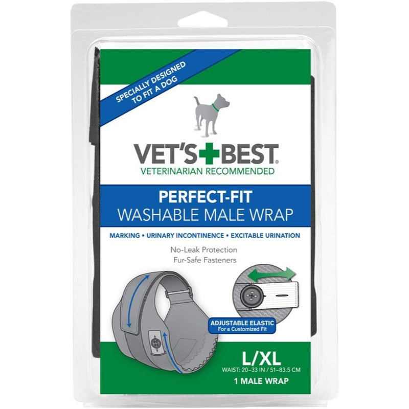 Vet's Best Washable Male Dog Absorbent Male Wraps with Leak Protection- 1 Reusable Dog Diaper Per Pack