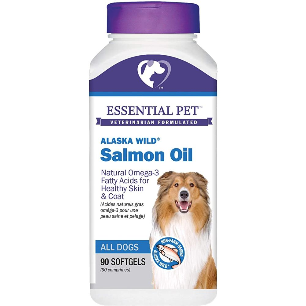 Essential Pet Products Alaska Wild Salmon Oil Soft Gels Natural Omega-3 Fatty Acids for Dogs