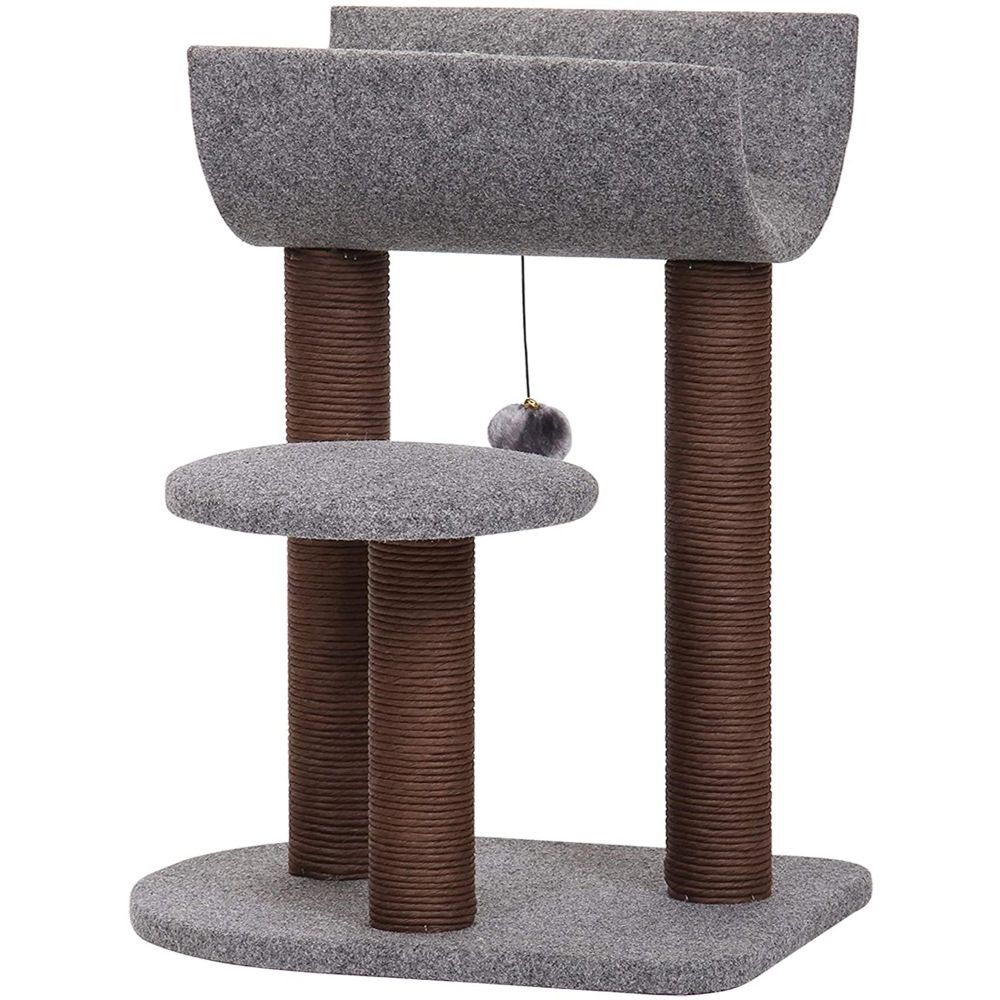 PetPals Cat Tree Cat Tower for Cat Activity with Scratching Postsand Toy Ball-Gray