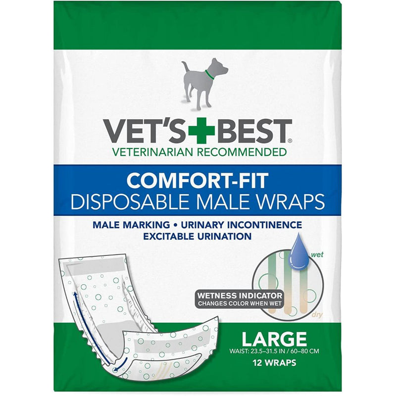 Vet's Best Comfort Fit Disposable Absorbent Male Wraps with Leak Proof Fit- 12 Count
