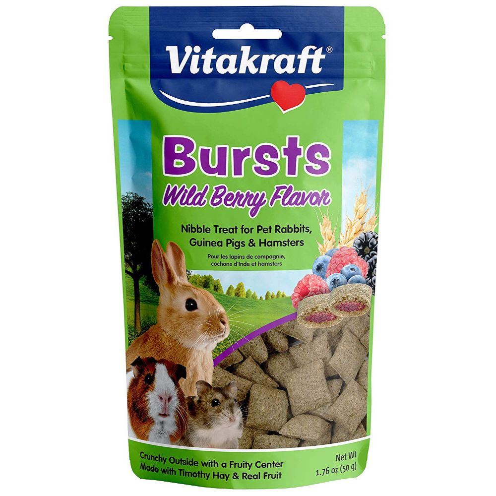 Vitakraft Bursts Treat for Rabbits, Guinea Pigs and Hamsters - Wild Berry Flavor