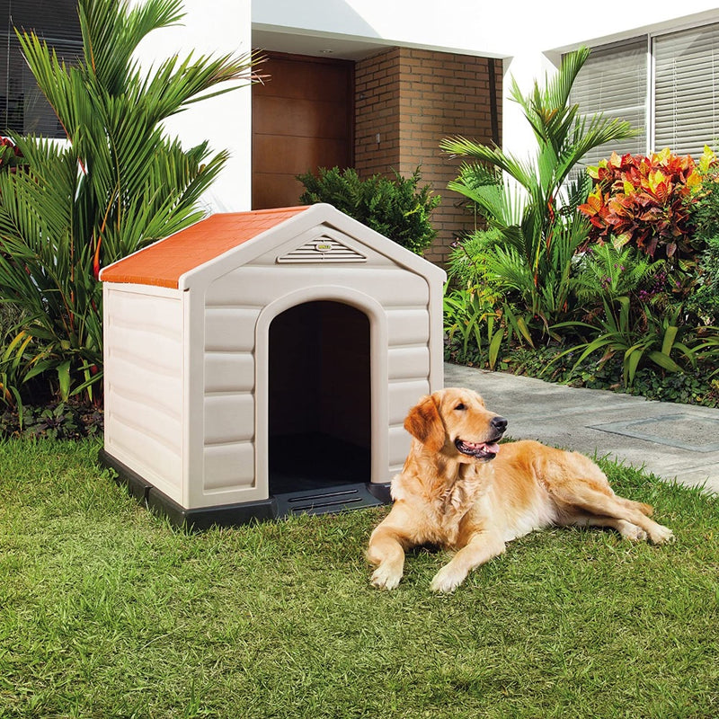 "Rimax Traditional Taupe Dog House for Medium and Large Breeds, 35.4""W x 36.2""D x 35""H"