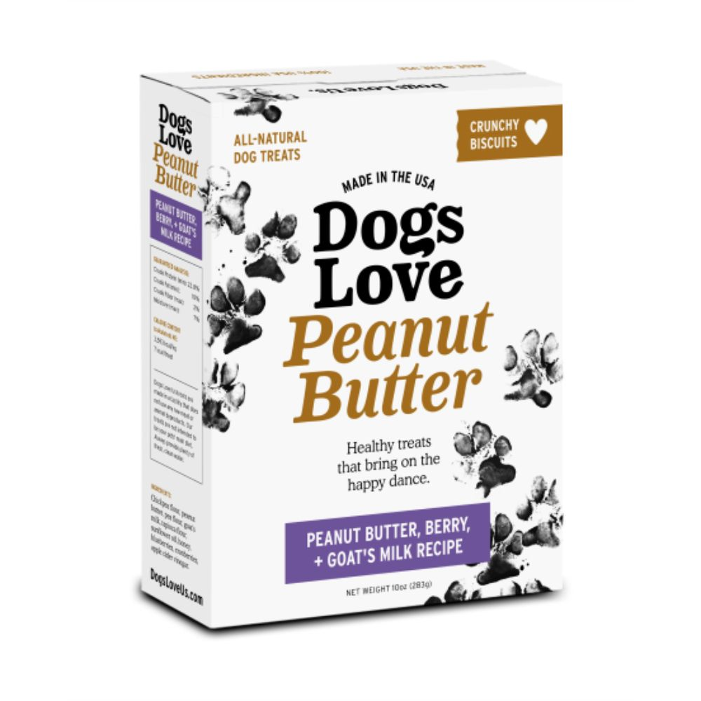Dogs Love Peanut Butter- PB, Berry & Goat's Milk Biscuit