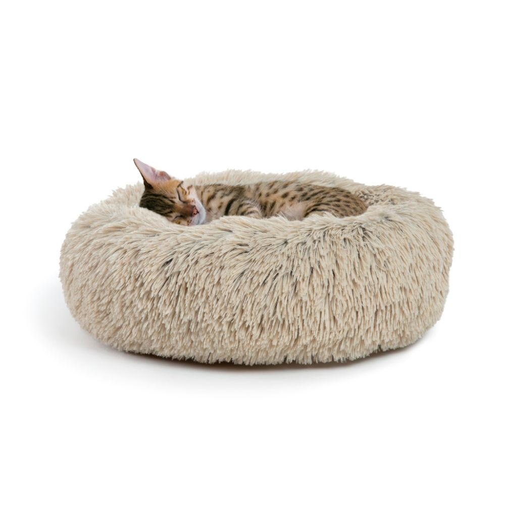 The Calming Shag Donut Cuddler Taupe Bed