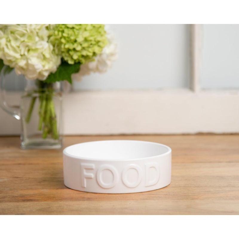 Park Life Designs CLASSIC FOOD WHITE PET BOWL