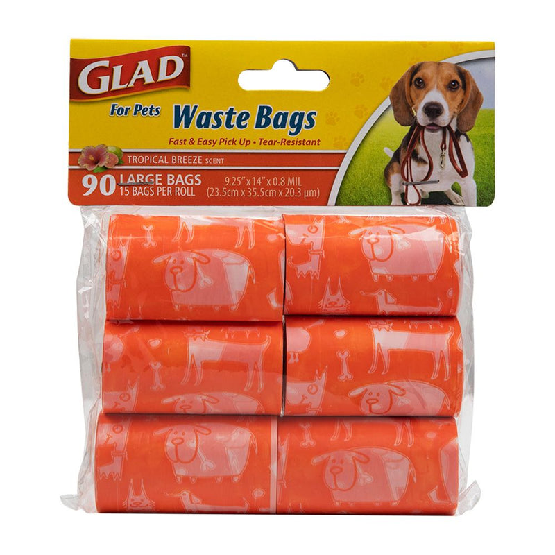 Glad for Pets Waste Bags Refill Rolls Tropical Breeze Scent (90 Bags)