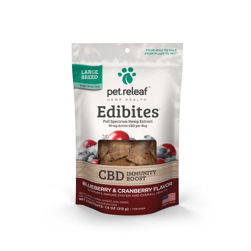 Pet Releaf Large Breed Blueberry & Cranberry Hemp Oil Edibites (Immunity Boost)