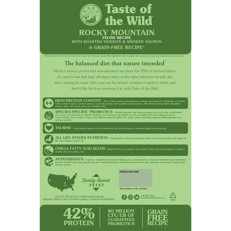 Taste Of The Wild Rocky Mountain Feline Recipe with Roasted Venison & Smoked Salmon 5Lb
