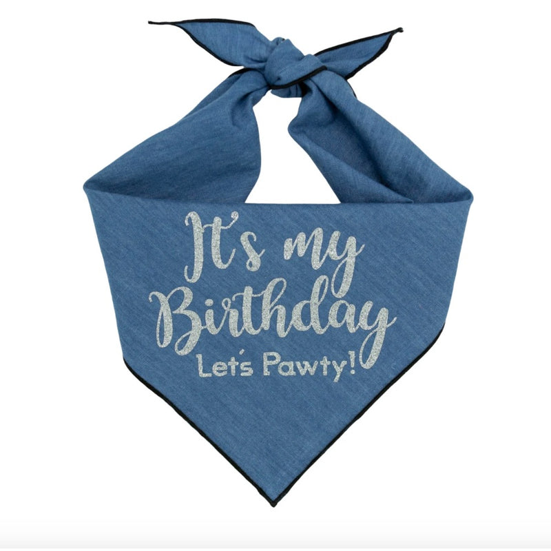 Paisley Paw Design Birthday Dog Bandana Denim