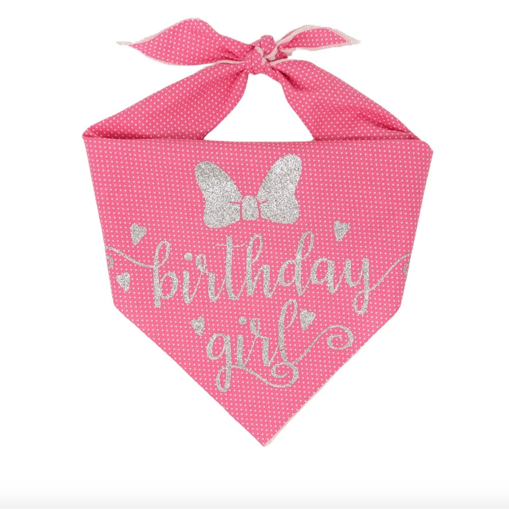 Paisley Paw Design Birthday Girl Pink Polka Dot Dog Bandana