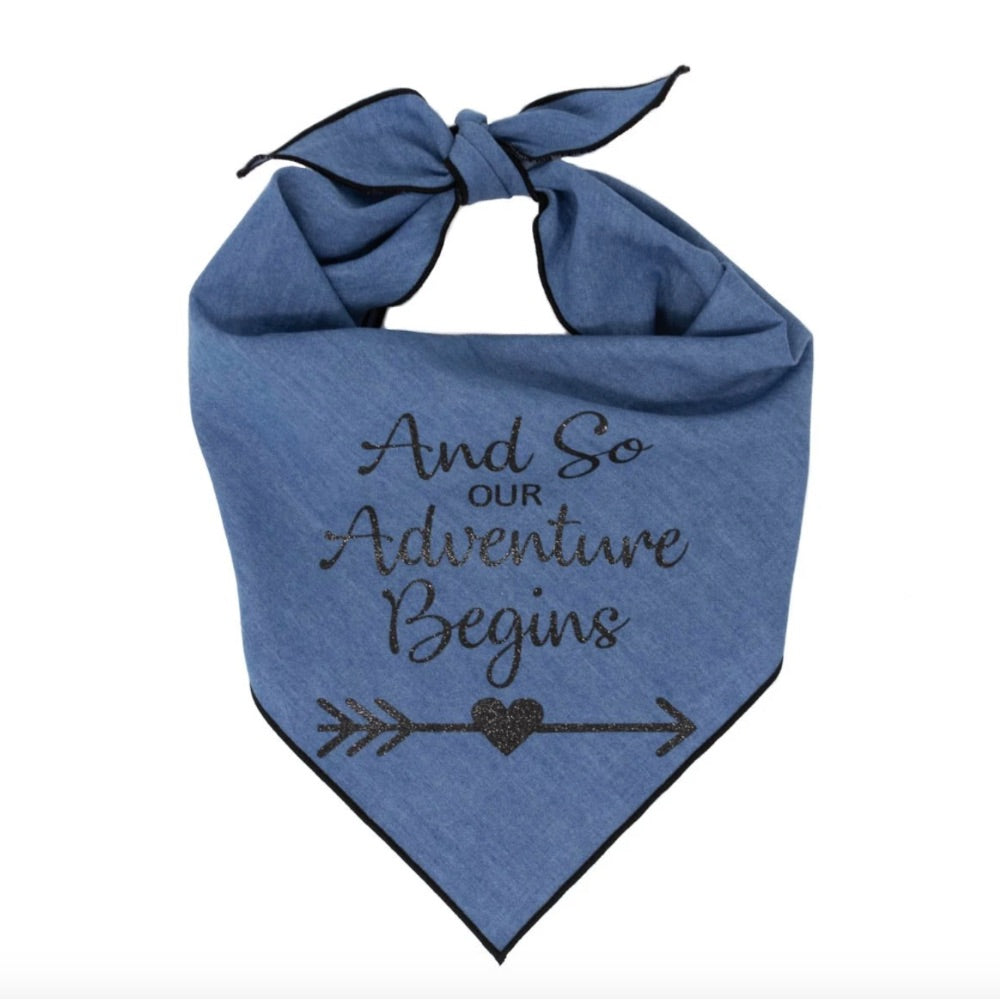 Paisley Paws Design And So Our Adventure Begins - Denim Dog Bandana